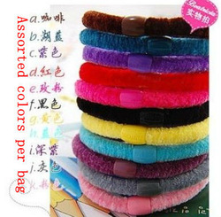 Hot! Wholesale free shipping 100pcs per bag Mixed Colors Rope Elastic Girl&#39;s Hair Ties Bands Headband hair Strap Hair Band(China (Mainland))