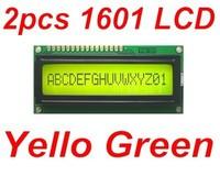 2pcs Yellow Green 1601 16X1 Character LCD Display Module / LCM SPLC780D STN