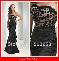 ED43 fashion design mermaid black evening dress