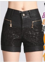 Free Shipping  2013 Fashion Korean Lace Slim Autumn Winter women PU leather shorts, Big Size 26-34