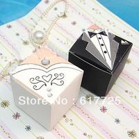300pcs - DHL FREE Shipping! Europe Paper Fashion Wedding Favor Bride Groom Wedding Bridal Favor Candy Gift Box Gown Tuxedo