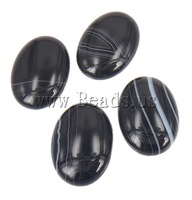 Free Shipping!!! 50PCs/Lot Oval black Natural Agate Flat back Stripe Cabochons 13x18mm for Jewelry & Mobilephone Decoration NEW