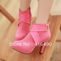 Free shipping 2013 new fashion high-heeled boots waterproof belt cross metal buckle nightclub bare shoes