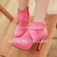 Free shipping 2013 new fashion high-heeled boots waterproof belt cross metal buckle nightclub bare shoes