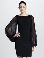 Free Shipping Spring Elegant Brand Designer Hand Beaded Chiffon Long Sleeve Black Backless Womens Club Dresses 2014 JB12145