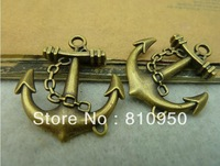 fashion vintage Antique Bronze alloy anchor charms Pendant 27*31mm Diy Materials,Handmade DIY Vintage jewelry accessories