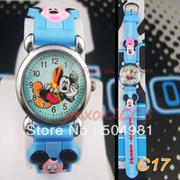Free shopping 2PCS New Arrival Watch 3D cartoon blue Mickey Children Quartz Watch Xmas birthday party Gift  C17
