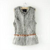 2013 fashion women's faux fur vest female new arrival fur coat short design with belt Free Shipping