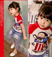 free shipping 2012 summer kids/children baby girls t-shirt cartoon cool t-shirt with lovely monkey printing