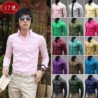 Free Shipping 2013 Mens Slim fit Fashionable casual multicolour male 100% cotton slim long-sleeve shirt 17color size:M-XXXL