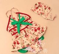 5pcs/lot  baby girls swimsuit flower one-piece swimwear +cap beach wear  free shipping