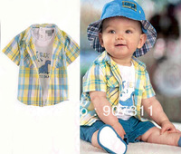 free shipping 2013 new design 5pcs/lot size 80-90-100(2:2:1) Boy's Suit 3pc Set Big Lattice Shirt  Pants Kids Boys Set