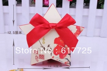 150pcs - Free Shipping! Fashion European Creative Wedding Candy Box Pentagram With Bowknot Wedding Party Favor Boxes, 3 Colors