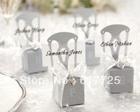 100pcs - Wedding Favor Boxes Chair DIY Favor Box (Gold/Silver) With Accessories, Wholesale Price, Free shipping