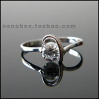 S925 pure silver platinum diamond ring zircon ring