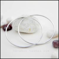 Brief s925 pure silver platier glossy large hoop earrings