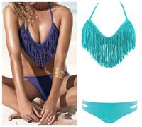 Free Shipping 2PCS Brand New Hot Sexy Padded Boho Tassels Bikini Swimwear Swimsuit /Beachwear/Clubwear Fringe Purple/Blue S M L