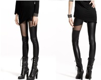New Style In Spring Autumn Women Leggings Faux Leather And Grenadine Patchwork Fashion Lady's Trousers Sexy Female Pants