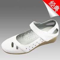 summer 2013  white nurse shoes cutout genuine leather women's shoes white work shoes mother shoes flat sandals for women 34-41