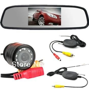 "2.4G Wireless Car Kits 4.3"" TFT LCD Car Monitor/Mirror Rearview +HD CCD Night Vision/wide Angle Car Rear View Reverse Camera"