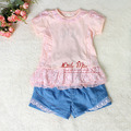 New Summer Kids Clothing Set Lace Children Girl Clothes Set 2PCS T Shirt Pants 4 Colors Infant Garment  CS30110-04^^LM  in stock