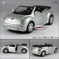 free shipping 1:32 Soft world kinsmart vw cabrio beetle roadster beetle silver alloy car model