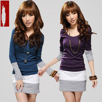 Free Shipping New Arrival  Women's Slim Long T-Shirts Sexy Basic Skirt Long-sleeve T-shirt Patchwork Black/Purple/Blue TS-019