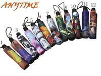 [ANYTIME]Wholesale Brand-LOGO Ancient Anti-UV Oil Painting Fold Sun Rain Umbrella Men's Women's -Free Shipping
