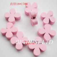 Free Shipping 100PCS  18*17mm Pretty Pink Flower Children Wooden Button DIY Button Decoration Garment Accessories Craft