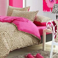100% cotton leopard printing slanting stripe  four pieces per set  bedding set