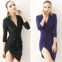 2013 new sexy deep V classic kink, irregularly seven - quarter sleeve women dress in black green purple Free Shipping