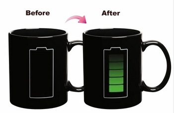 2013 New style 48PCS/Lot colour changing mug Temperature Sensitive Novelty Gift