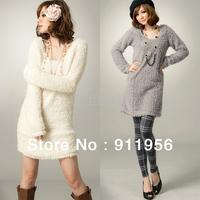 Holiday Sale FREE SHIPPING New Women's Cute Korea Fleece Long Sleeve Top Mini wollens Mini Dress #40