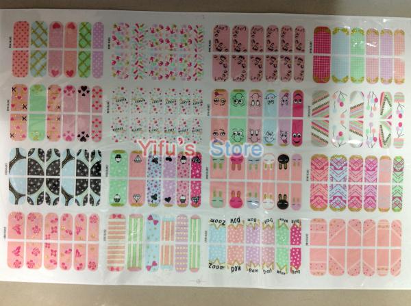 Grátis frete Mix 16 estilos autoadesivo francês Trendy Nail Sticker Wraps unhas Foil Patch arte produto 120 conjuntos atacado(China (Mainland))
