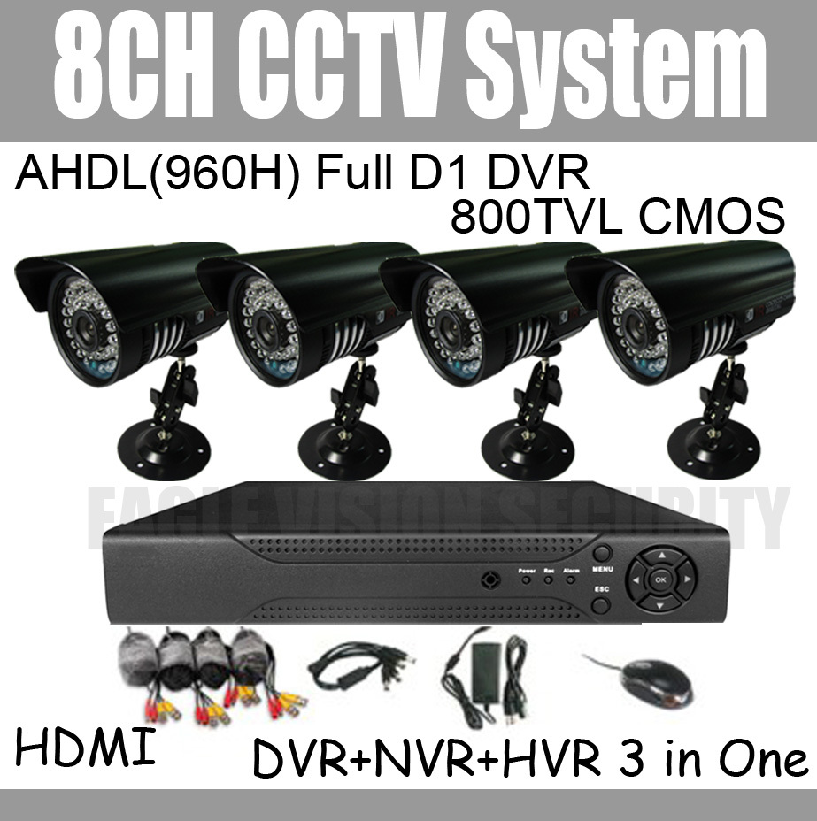 8ch DVR Kit CCTV System 4pcs IR Outdoor Security Cameras System 8ch DVR with D1 function Mobile Phone View Internet View(China (Mainland))