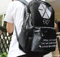 FREE SHIPPING KPOP Black EXO LOGO HOT HIP-HOP Punk Backpack Shoulder School Cool Rock Bag