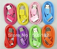 200PCS FREE DHL color data sync USB cable/data cable/charger cable for iphone 4/iphone 4S//ipod touch/ipad+Free shipping