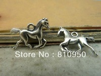 100pcs 15x20mm  Metal / Alloy Antique Silver Horse Charms Pendant Jewelry Setting connection free shipping