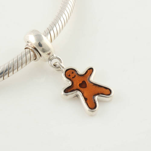 Free Shipping 925 Sterling Silver Gingerbread Man Dangle Christmas Pendant Bead Fits European Jewery Charms Beads Bracelets(China (Mainland))