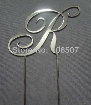 "Stainless Steel double sides 2.7''(7cm) RCE font letter ""R"" monogram cake topper wedding decor hot sell"