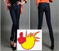 new arriveal mid waist brand pencil elastic women's jeans / ladies demin pant trousers dark blue black 26-32
