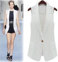 Star style all-match ultra long suit style vest blue white black