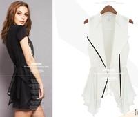 2013 punk style elegant slim waist all-match comfortable gentlewomen vest black white