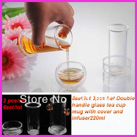 Aliexpress 6set/lot Double handle glass tea cup mug,Red Tea cup,Green Tea CUP with cover and infuser220ml 3pcs/Set wholesale