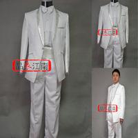 Male wedding dress evening dress suit western-style trousers set wine costume suit