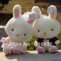 J1 Free shipping,  wedding dress rabbit lovers plush toy, 1 pair