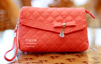 2013 New Fashion Korean Version soft plaid flip multi-layer cosmetic bag coin purse women's clutch,Free Shippping