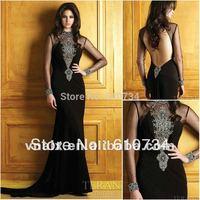 E0144 Beaded Black Chiffon Long Sleeves Backless Evening Dress For Muslim