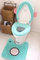 Circus mint circleof cartoon plush toilet three piece set toilet cover set wooden seat mats