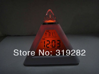 1lot=30pcs 7-Colors Changed Digital Triangle Pyramid music LED Alarm Clock , display temperature, date, time